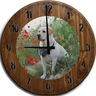 Large Wall Clock Golden Yellow Lab Labrador Hunting Tracking Dog Bar Sign
