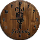 Large Wall Clock Old School Vintage Microphone Classic Music with Soul Bar Sign