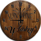 Large Wall Clock Sunshine & Whiskey Country Bar Sign