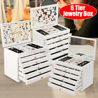 Large Wooden Jewellery Box Ring Display Organiser Storage Cabinet Glass Top Gift