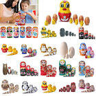 5-10pcs Russian Wooden Nesting Doll Matryoshka Hand Painted Kids Toys Decoration