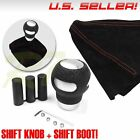 FIT DODGE! M12 M8 M10 BLACK LEATHER SILVER GEAR SHIFT KNOB LEVER RED STITCH BOOT $14.76 USD on eBay