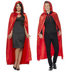 Smiffy's Adults Long Red Hooded Cape Unisex Halloween Cloak Costume Accessories
