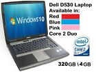 "Dell D530 320gb Core2duo 4gb Laptop Windows 10 15"" Wifi/dvd Office Blue Pink Red"