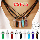 1/2pcs Quartz Crystal Stone Point Chakra Healing Gemstone Pendant Necklace