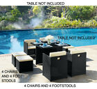 4 Garden Furniture Dining Chairs And 4 Footstool Only Pe Rattan New 8pc