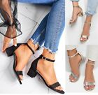 LADIES WOMENS LOW MID BLOCK SUMMER PEEPTOE ANKLE STRAP PARTY SANDALS SHOES SIZE