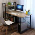 Computer Table Study Desk with Shelves Unit Black Home Office Workstation Corne