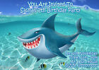 SHARK UNDERSEA Personalised Birthday Party Invitations Thank you + envelopes