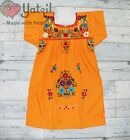 Mexican Girl Dress Peasant Hand Made Embroidered with Multicolored Flowers