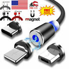 3in1 For Cell Phone IOS Micro USB Type C 360° Magnetic Charger Charging Cable US