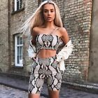 Women Snake Skin Crop Top Sexy Tank Shorts 2 Pieces Sets Summer Autumn Fashion