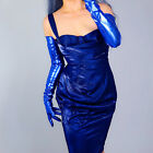 """LATEX LONG GLOVES Faux Shine Patent Leather 28"""" 70cm Electric Blue Slim Fit"""