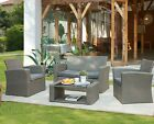 Rattan Grey Garden Furniture Set 4pc Outdoor Table Chair Sofa Conservatory Patio