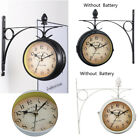Antique Double Sided Wall Mount Station Clock Garden Vintage Retro Home
