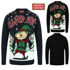 Christmas Funny Slogan Xmas Jumpers Unisex Mens Womans Elfed Up Pullovers Tops