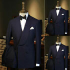 Navy Blue Men Double Breasted Suit Tuxedo Party Prom Dinner Wedding Formal Suit