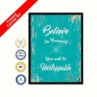 Believe In Yourself & You Will Be Unstoppable Framed Canvas White Picture Print