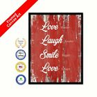 Love Harder Laugh Louder Smile Bigger Love Longer Red Quote Framed Canvas Art