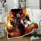 Fight Bravely Captain America 3D Warm Plush Fleece Blanket Picnic Sofa Couch