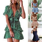 Womens Ladies Ruffle Mini Dress Casual Summer Beach Holiday Party Swing Sundress