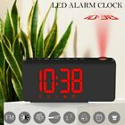 LED Digital Wall Desk Alarm Clock Projection FM Radio LED Projector Snooze US