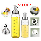 Kitchen Glass Oil Vinegar Soy Sauce Bottle Dispenser Container Cruet (Set of 2)