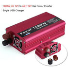 1500/2000W Portable Car LED Power Inverter WATT DC 12V to AC 110V Converter New