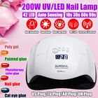 Professional 200W LED UV Nail Polish Dryer Lamp Gel Acrylic Curing Light Timed