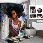 Lady Girl Waterproof Polyester Shower Curtain Bathroom Toilet Seat Cover Mat Kit