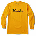 Primitive Men's Nuevo Script Long Sleeve T Shirt Yellow Gold Clothing Apparel...
