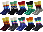 Mens Colourful Socks Pattern Funny Cool Happy Horizion Argyle Sock