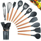 9/11Pcs Silicone Utensils Sets Non-stick Wooden Kitchen Baking Cookware Tools