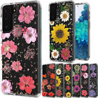 For Samsung Galaxy A21 Beautiful Floral Pattern Glitter Case +Tempered Glass