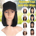Baseball Cap with Hair Wigs Syntheitc Pixie Cut Bob Hair Hat for Women in