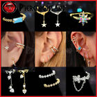 Gem Crystal Fake Helix Hoop Earring Ear Cuff Ring Dangle Clip On Non Piercing