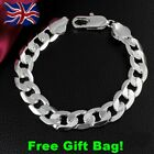 Mens 925 Silver 8mm Curb Chain Necklace Bracelet Jewellery Set + Free Gift Bag!