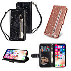 Luxury Flip Leather Bling Glitter Wallet Card Slot Hand Strap Stand Case Cover