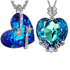 Love Me Forever Crystal Heart Pendant Necklace (bermuda Blue)