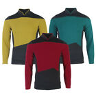 The Next Generation Picard Red Uniforms TNG Riker Data Gold Blue Shirts Costumes