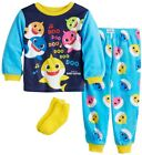 New Toddler Boy Baby Shark Colorful 2 Piece Fleece Pajama Set With Socks 3 4 5
