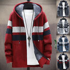 Fashion Men Long Sleeve Knitted Hooded Cardigan Zip Plush Color Block Coat New