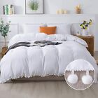 Andency Pom Pom Fringe Duvet Cover Queen Size (90 x 90 Inch), 3 Pieces (1 Cute S