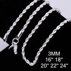 18k White Gold Plated Cut Rope Chain Necklace Silver .925 Italy