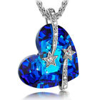 Blue Crystal Pendant with Pure Silver Necklace Titanic Heart of the Ocean