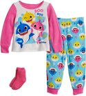 New Toddler Girl Baby Shark Doo 2 Piece Fleece Pajama Set With Socks 3 4 5