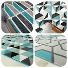 Blue Rugs for Bedroom | Modern Geometric Rugs | Giant Best Selling Runners CHEAP