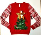 Nobo No Boundaries Juniors Ugly Christmas Sweater Reindeer Plush on Tree M L NWT