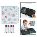 Drawing Board 12x Color Pens Portable Erasable Painting Book Writing Pad Toys