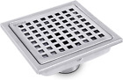BESTTEN 6 Inch Square Shower Floor Drain, SUS304 Stainless Steel, Square Hole Gr